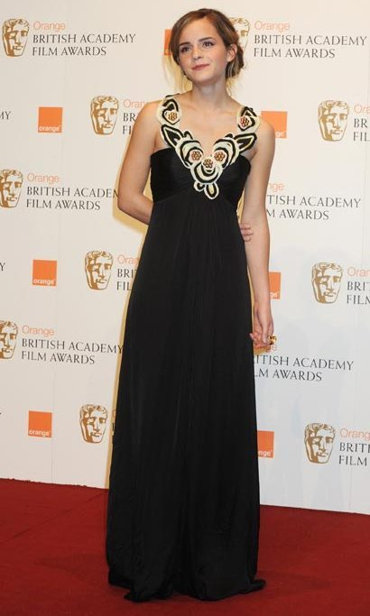 Doing dramatic in a full-length gown for the BAFTA awards in 2009.