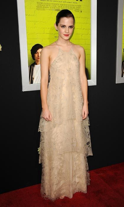 Doing 'barely there' in a nude dress at a premiere in September, 2012.