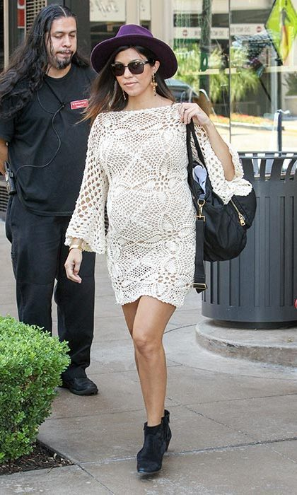 Nailing summer chic in a crochet dress while out in Los Angeles.