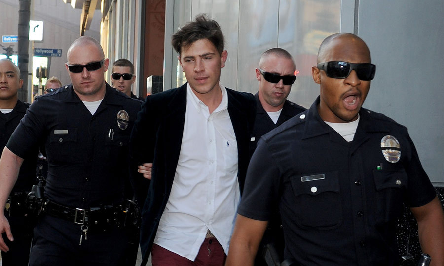 For his next stunt, the vigilante-reporter attacked Brad Pitt at the premiere of 'Maleficent' in May. The altercation resulted in a broken set of glasses for Brad and jail time and community service for Vitalii. (Image: Gregg Deguire/Getty Images)