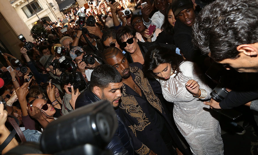 Vitalii lunged at Kim Kardashian and almost dragged her to the ground as she was making her way to the Balmain show at Paris Fashion Week. Thankfully, her security team and her husband, Kanye West, were on hand to ensure the mother of one's safety. (Image: Marc Piasecki)
