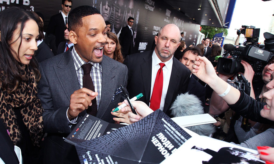 "In 2012, the prankster attended the premiere of 'Men in Black 3' in Moscow, where he grabbed and forcefully kissed Will Smith on the lips. The 46-year-old actor slapped Vitalii in retaliation, asking, ""What the hell is your problem?"" (Image: Epsilon/Getty Images)"
