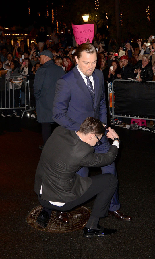 "In February, Vitalii decided to try his ""groin hug"" stunt again, accosting Leonardo DiCaprio at the Santa Barbara International Film Festival. (Image: C Flanigan/Getty Images)"