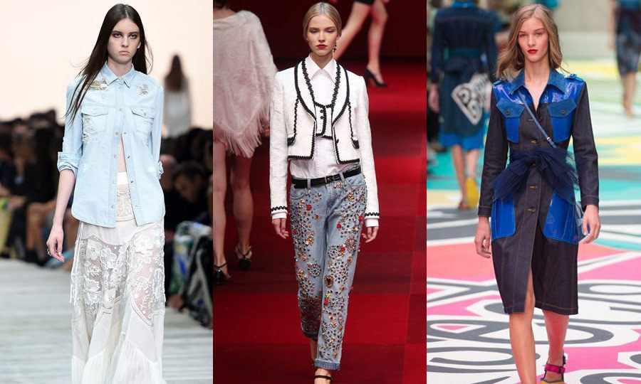 GOOD JEANS: Denim got an update this year in the form of treated shirts,bedazzled pants and reimagined jackets. Roberto Cavalli (left) offered the most subtle transformation in Milan with a light-wash shirt featuring minor shoulder embellishments, while Dolce and Gabbana (middle) strutted a heavily beaded pair of jeans down the Milanese catwalk. Over in London, Burberry Prorsum (right) elevated the ubiquitous jean jacket with oversized royal-blue leather pockets and shoulder accents. (Images: Getty)