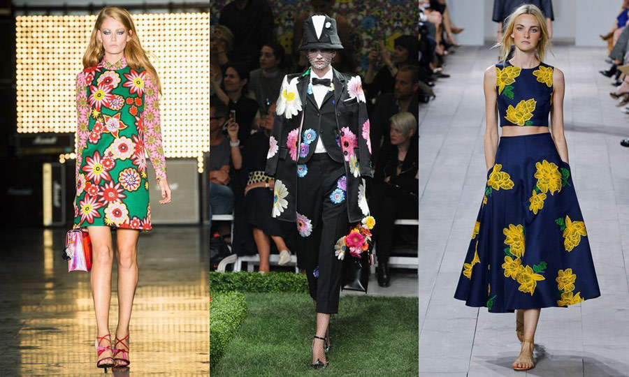 BIG BOUQUETS: Florals for spring are a safe bet, but in London and New York, the printemps print saw a huge revival - literally. Macro flower detailing was on display at House of Holland (left) in London and Thom Browne (middle) and Michael Kors (right) in New York.