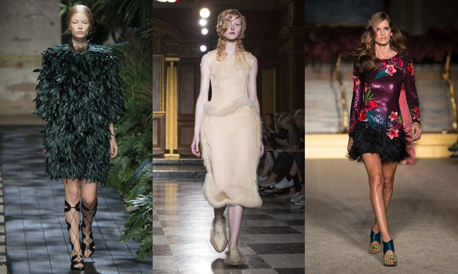 BIRDS OF A FEATHER: London Fashion Week was a downy display, with feathers in abundance giving flight to entire dresses at Erdem (left), as subtle trim at Simone Rocha (middle) and on short skirts at Matthew Williamson (right). (Images: Getty)