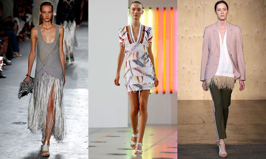 FRINGE PLAY: Fringe is back as a focal point, no longer relegated to mere accents. Proenza Schouler (left) used long tassel-fringe as a skirt on an asymmetrical dress in New York, while Preen (middle) and Paul Smith (right) brought the look to London in the form of tiered embellishments and peplum detailing. (Images: Getty)