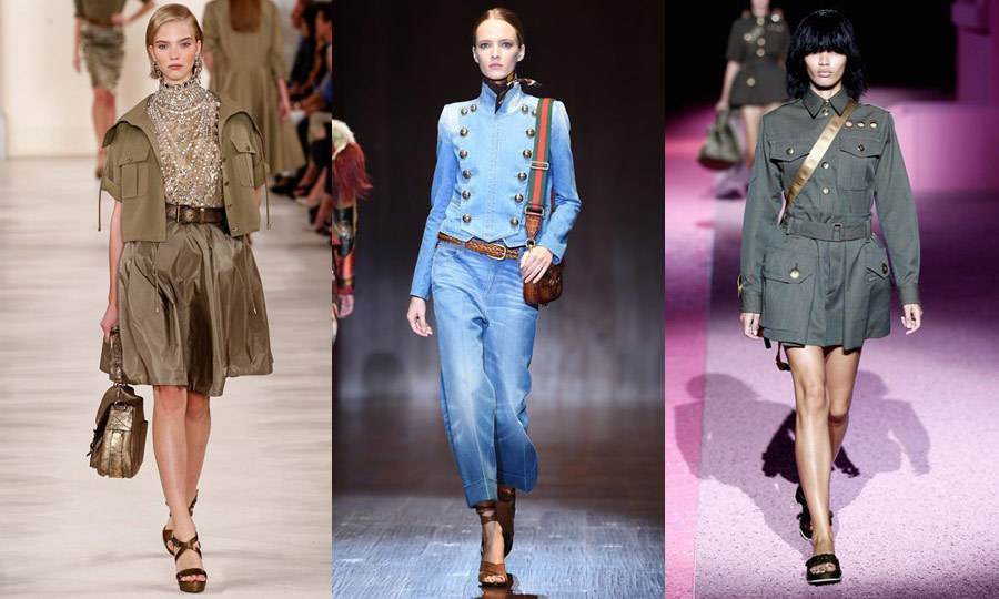 FASHION ARMY: Militaristic influence was a spectacular trend in Milan and New York, seen on the runways of Ralph Lauren (left), Gucci (middle) and Marc Jacobs (right) in the form of denim Sergeant Pepper-style jackets, structured and skirted coats with exposed hardware and more! (Images: Getty)