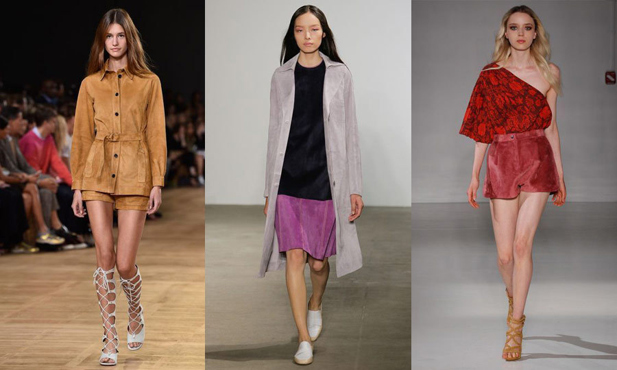 SUEDE PARADE: In an homage to the '70s, suede returned to the catwalk in a big way for spring/summer 2015. Chloe (left) kept to its signature camel hue, and offered a simple pair of suede micro shorts and a perfectly tailored top. Derek Lam (middle) went bold with suede colour-blocking and Jill Stuart (right) took on multiple trends with an off-the-shoulder red floral top paired with high-waisted suede bloomer shorts. (Images: Getty)