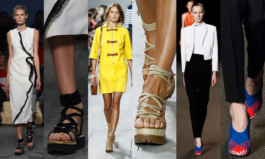 DREAM WEAVER: Woven shoes were piled onto multiple runways, anchoring looks that ranged from beach-inspired to sporty. In Milan, Sportmax (left) offered up a woven platform sandal, akin to the look also delivered at Michael Kors (middle) in New York. The boldest interpretation of the trend was at Alexander Wang (right) – his woven, multicoloured heels channel conventional running shoes with a sophisticated twist. (Images: Getty)