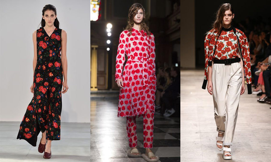 SCARLET FEVER: While big flowers told one fashion story, rich red hues told another in Paris and London. Swathes of roses and scarlet petals adorned dresses and pants from the likes of Celine (left), Simone Rocha (middle) and Maison Rabih Kayrouz (right).  (Images: Getty)