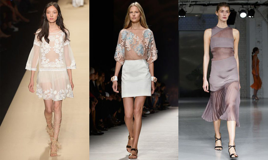 SHEER WINDOW: A nearly naked look was a hot trend in Milan and London, thanks to an abundance of sheer panels on delicate tops and dresses. Alberta Ferretti (left) and Blumarine (middle) employed the look in Milan on barely there shirts with expertly placed applique florals, while Barbara Casasola (right) showed the trend in London on a full-length gown with a flouncy, pleated skirt. (Images: Getty)