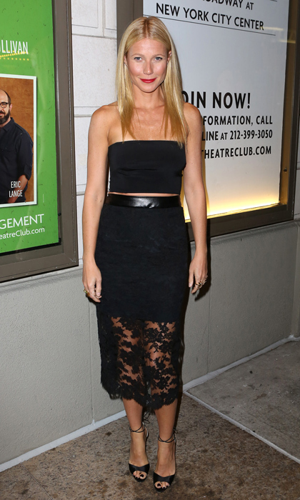 Gwyneth Paltrow hit the opening night stage performance of 'The Country House' in a two-piece look by Monique Lhuillier, featuring a bandeau and leather-accented pencil skirt, which she finished off with Brian Atwood's Mellie ankle-strap sandals.