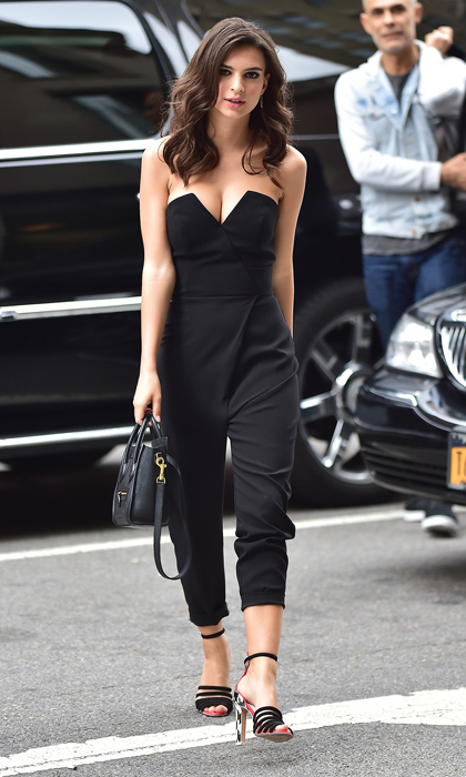 'Gone Girl' actress Emily Ratajkowski went for a stroll in NYC's Flatiron District wearing a sexy Camilla and Marc jumpsuit and multi-strap sandals.