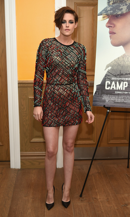 Twilight alum Kristen Stewart channeled rocker-chic at the 'Camp X-Ray' premiere in NYC in a fully embroidered mini dress by J. Mendel, pointed toe pumps and a perfectly mussed smoky eye.