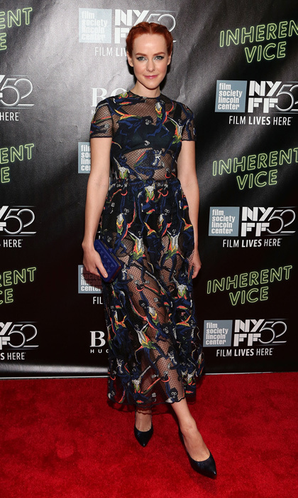 Jena Malone attended the 'Inherent Vice' world premiere at NYC's Alice Tully Hall in a printed sheer gown from Valentino's resort 2015 collection, studded Valentino clutch and navy-blue crocodile pumps.