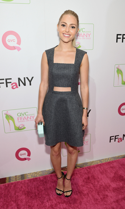 'Carrie Diaries' star AnnaSophia Robb stepped out at QVC's presentation for FFANY Shoes in a gray Markus Lupfer dress with cutout detailing, Stuart Weitzman's Nudist sandals and a mint Edie Parker clutch.